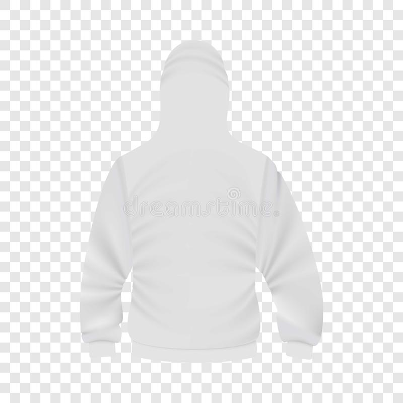 Back of white hoodie mockup, realistic style royalty free illustration