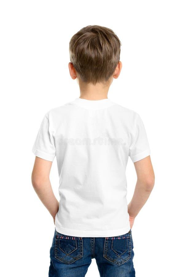 Back white T-shirt on a boy stock photo
