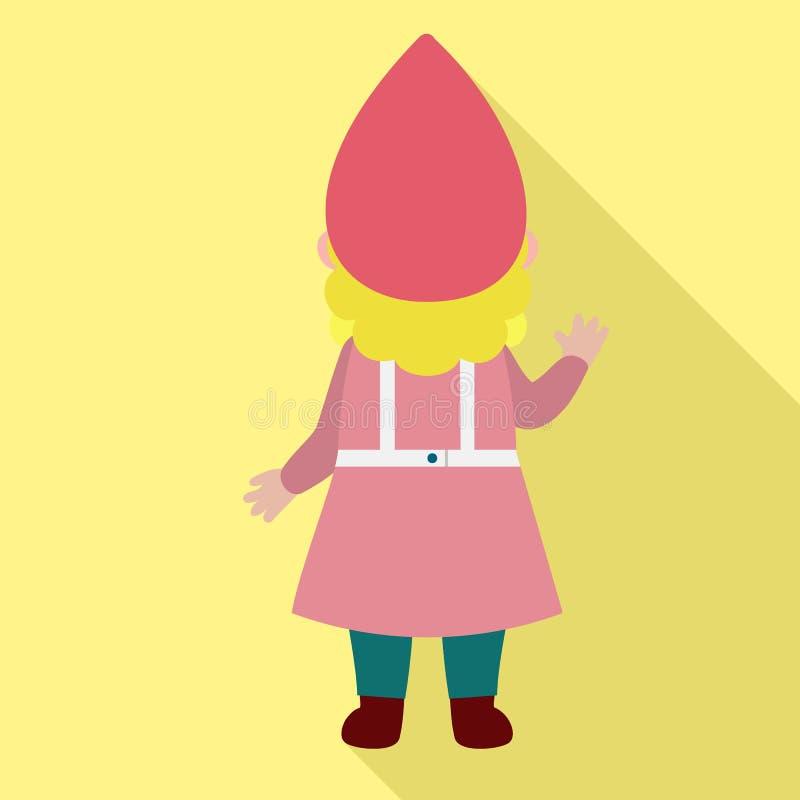 Back of woman dwarf icon, flat style stock illustration
