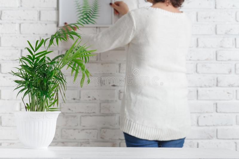 Back of woman hanging her sketch on wall. Female artist evaluate her painting performance, trying it on white brick wall, free spa royalty free stock photography
