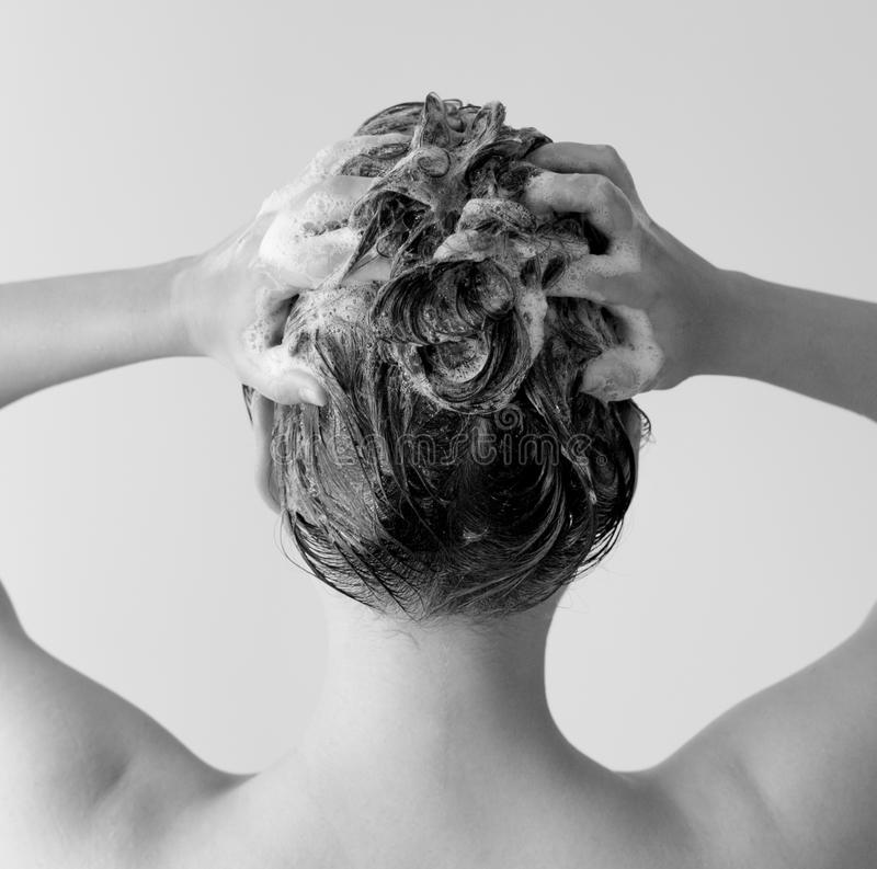 Back of a woman in a shower shampooing her hair, massaging her head full of suds in black and white. stock image