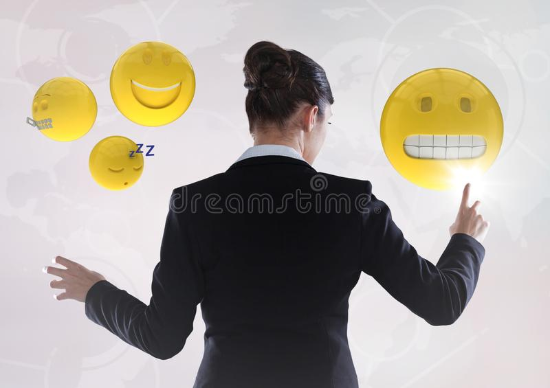 Back of woman touching emojis against white interface vector illustration
