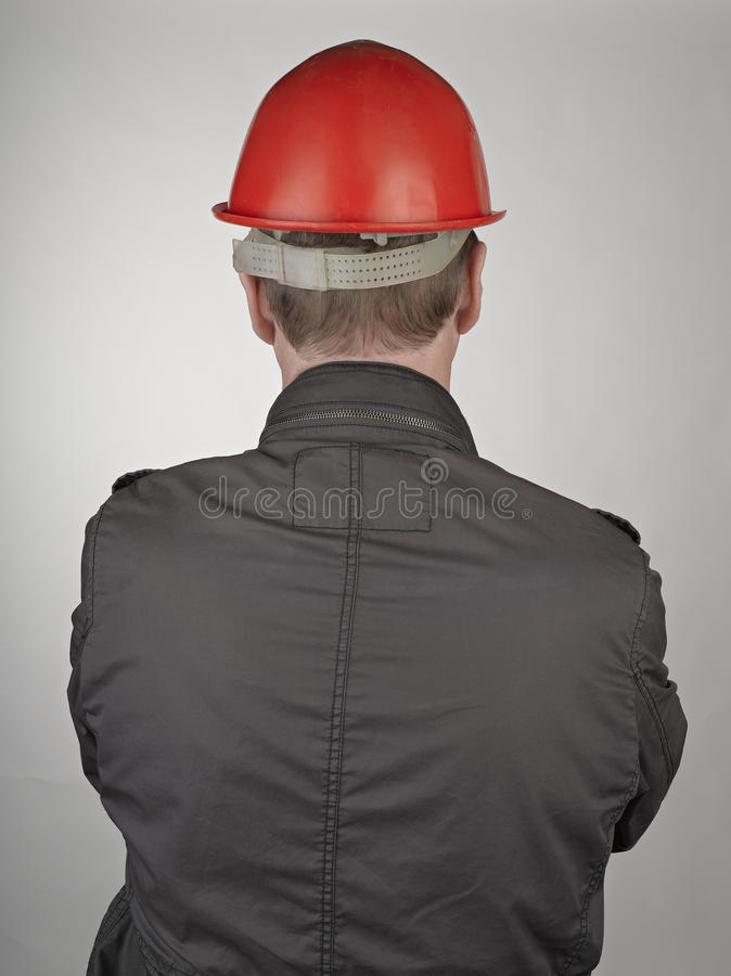 Back of worker man royalty free stock photography