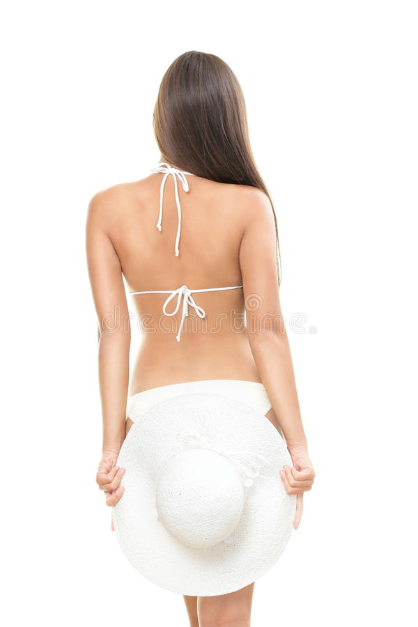 Back of young beautiful summer woman royalty free stock photos