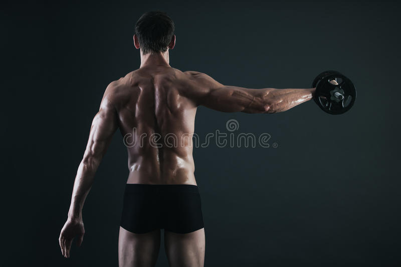 Download Back Of Young Male Bodybuilder Doing Weight Exercise Stock Image - Image: 28602791