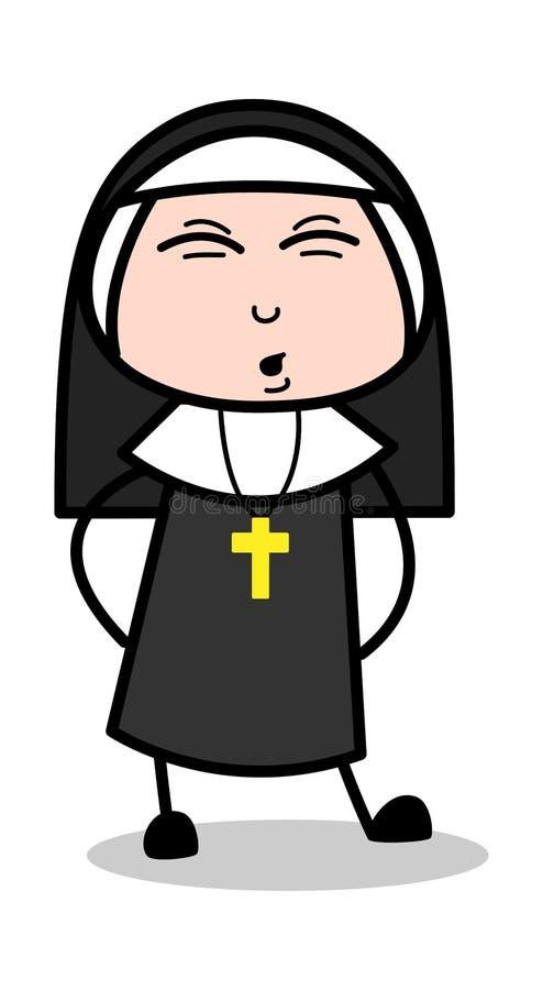 Backache - дама Вектор Иллюстрация монашки мультфильма иллюстрация штока