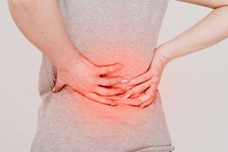 backache Concepto de los problemas del riñón lumbago foto de archivo libre de regalías