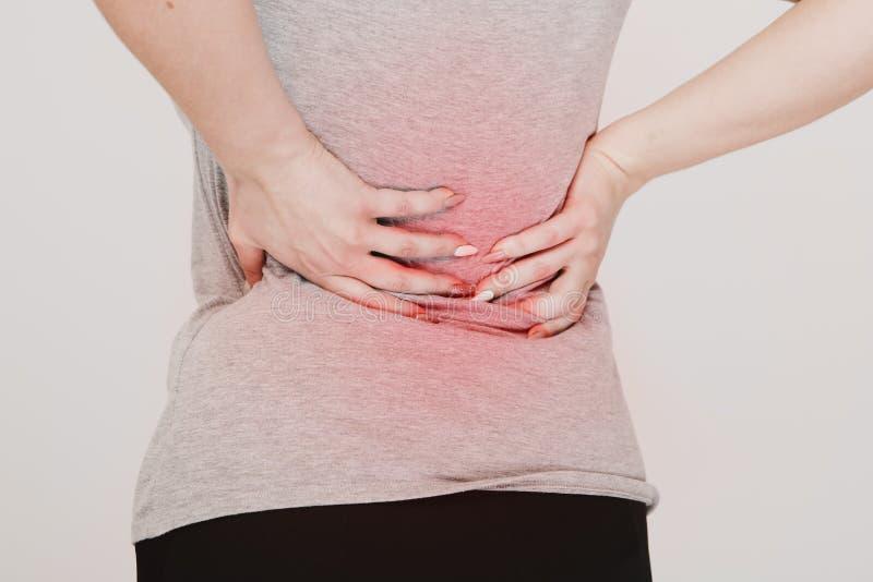 backache Concepto de los problemas del riñón lumbago fotografía de archivo
