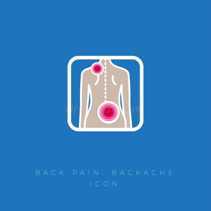 backache Dolor en la espina dorsal y los músculos traseros Meositis, saliente, ciática Tema m?dico libre illustration