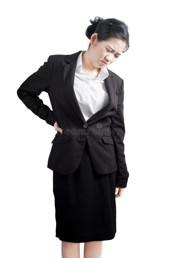 Backache lub Bolesna talia w kobiecie odizolowywającej na białym tle Ścinek ścieżka na białym tle zdjęcie royalty free