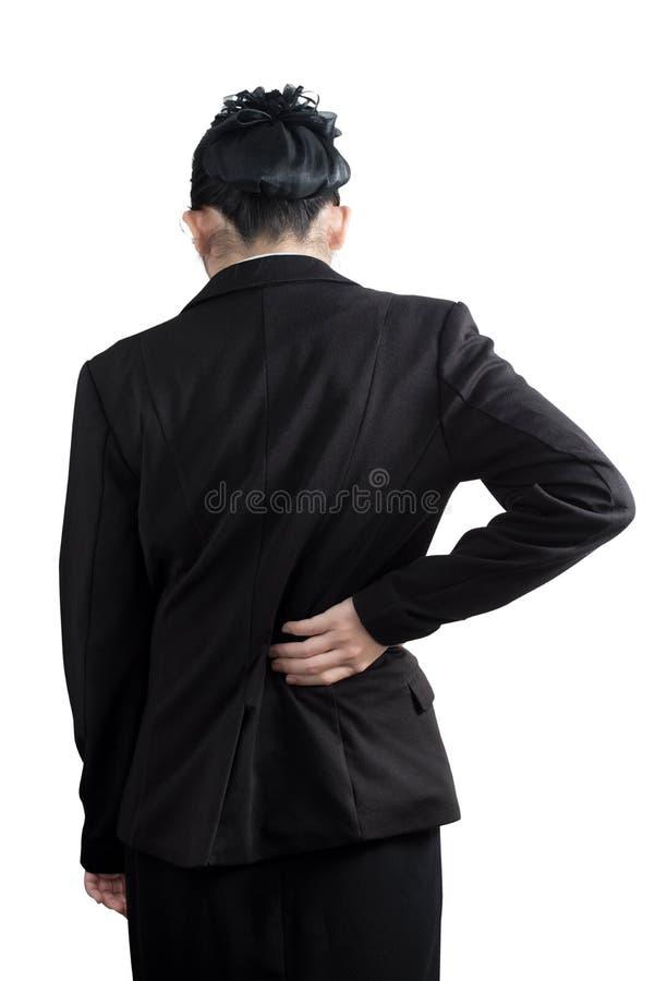 Backache lub Bolesna talia w kobiecie odizolowywającej na białym tle Ścinek ścieżka na białym tle zdjęcia royalty free