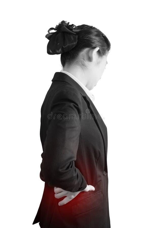 Backache lub Bolesna talia w kobiecie odizolowywającej na białym tle Ścinek ścieżka na białym tle obraz royalty free