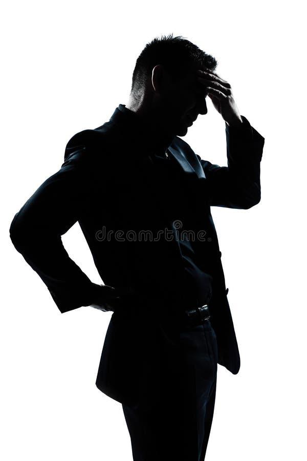 backache mężczyzna migreny portreta sylwetka męczył obraz royalty free