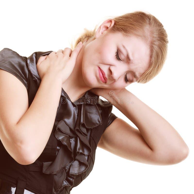 backache Mujer joven que sufre del dolor de espalda aislado imagenes de archivo