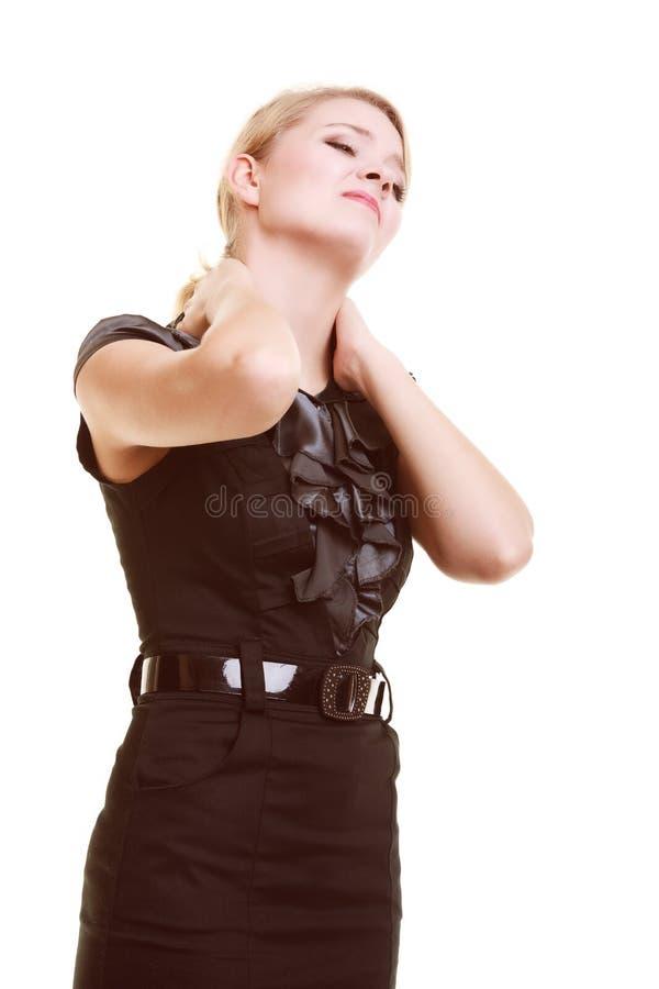 backache Mujer joven que sufre del dolor de espalda aislado foto de archivo