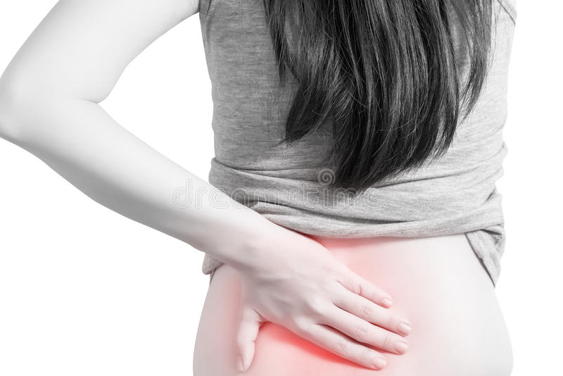 Backache or Painful waist in a woman isolated on white background. Clipping path on white background. royalty free stock image