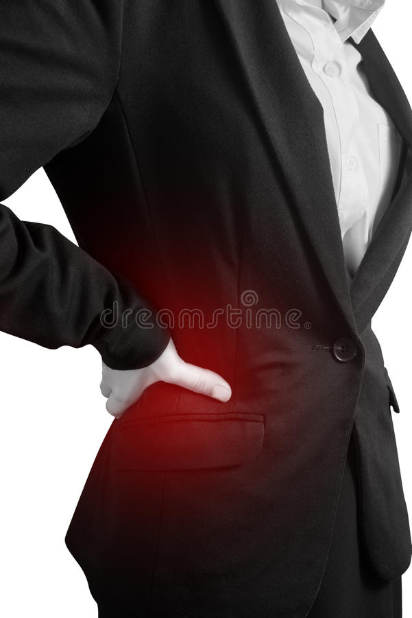 Backache or Painful waist in a woman isolated on white background. Clipping path on white background. royalty free stock photo