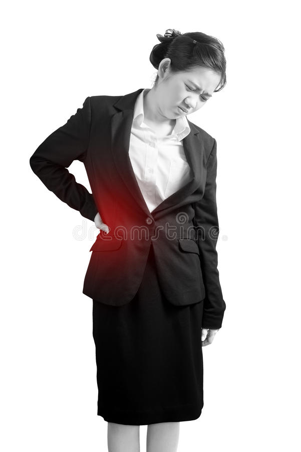 Backache or Painful waist in a woman isolated on white background. Clipping path on white background. stock photography