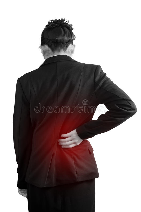 Backache or Painful waist in a woman isolated on white background. Clipping path on white background. stock photos