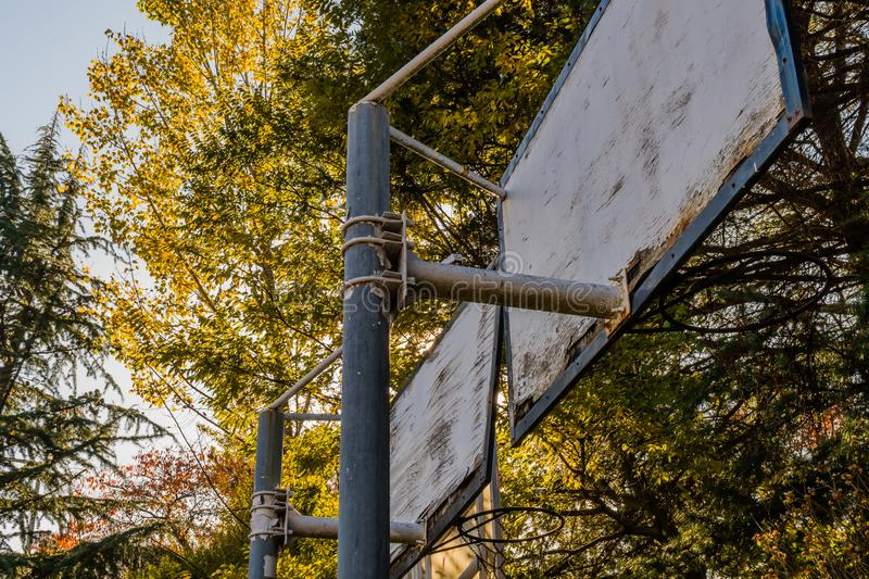Backboard of old weathered movable basketball nets royalty free stock photos