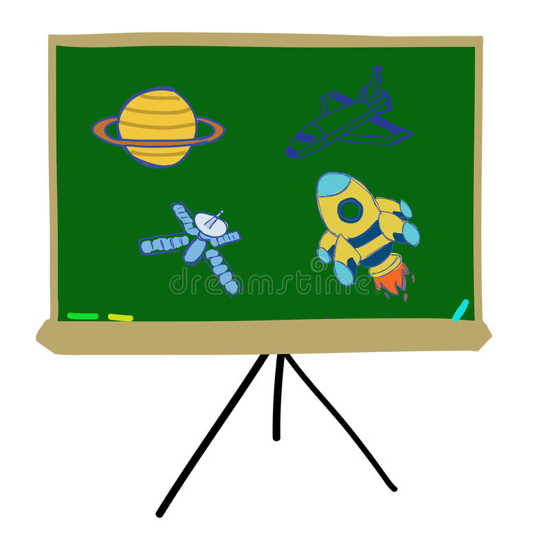 Free Backboard Writing With Space Object Stock Image - 27976891
