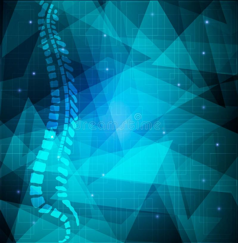 Backbone abstract blue background. Human vertebral column diagram on a abstract blue shapes background royalty free illustration