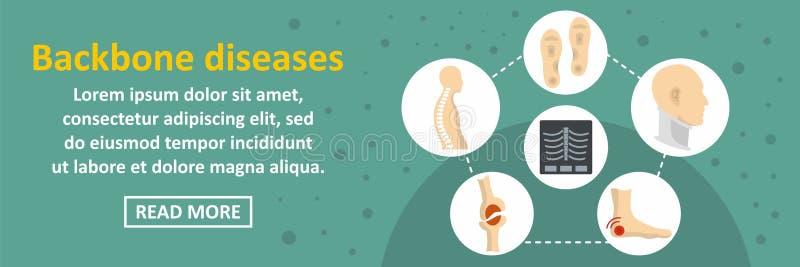 Backbone diseases banner horizontal concept. Flat illustration of backbone diseases banner horizontal vector concept for web design stock illustration