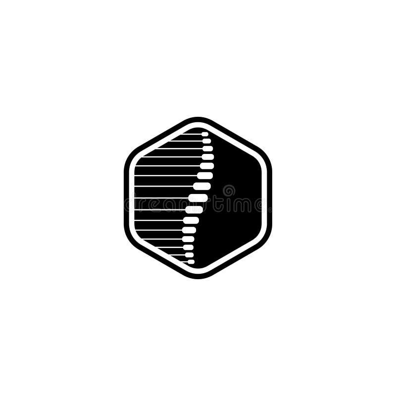 Backbone medicine hexagon logo. Backbone medicine in hexagone shape stock illustration