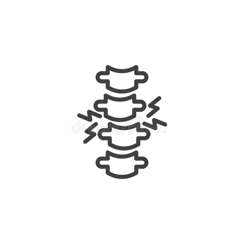 Backbone pain line icon. Linear style sign for mobile concept and web design. Human spine pain outline vector icon. Symbol, logo illustration. Vector graphics royalty free illustration