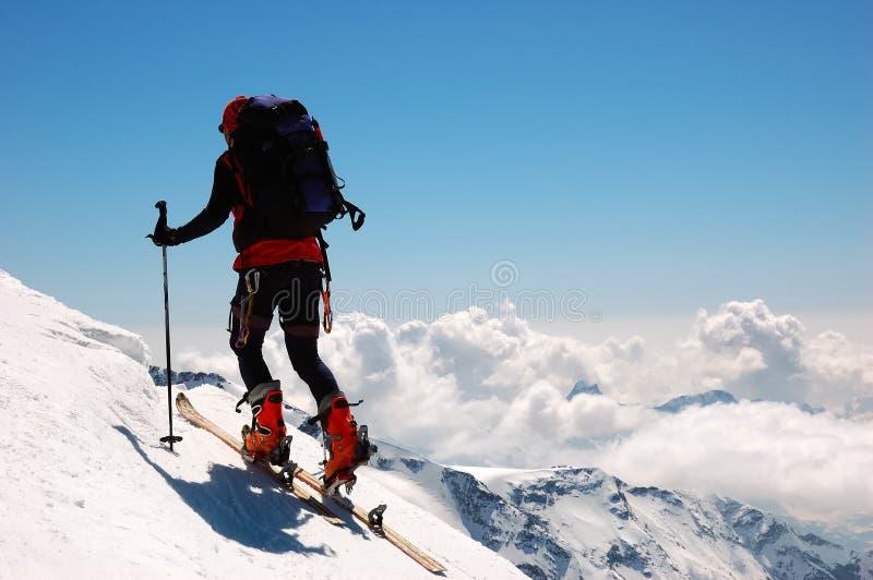 Backcountry climber. Breithorn glacier, west Alps, Swiss