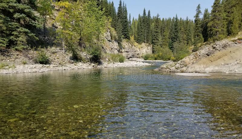 Backcountry river in alberta stock images