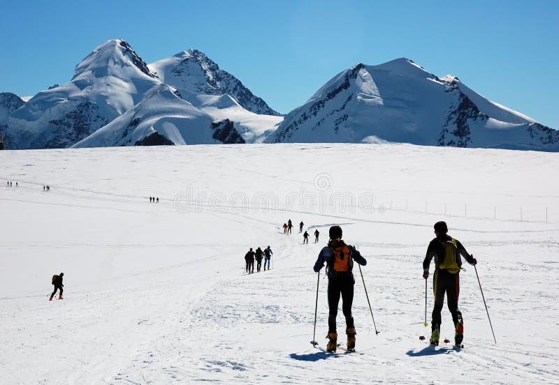 Backcountry ski. Ski touring group, breithorn glacier, west Alps, Swiss