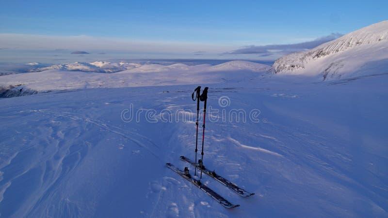 Backcountry skidar fotografering för bildbyråer