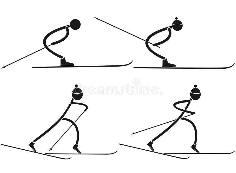 backcountry skier royaltyfri illustrationer