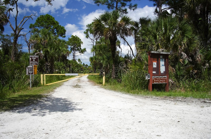 Backcountry Trailhead. Trailhead in Big Cypress National Preserve, Florida Everglades stock images