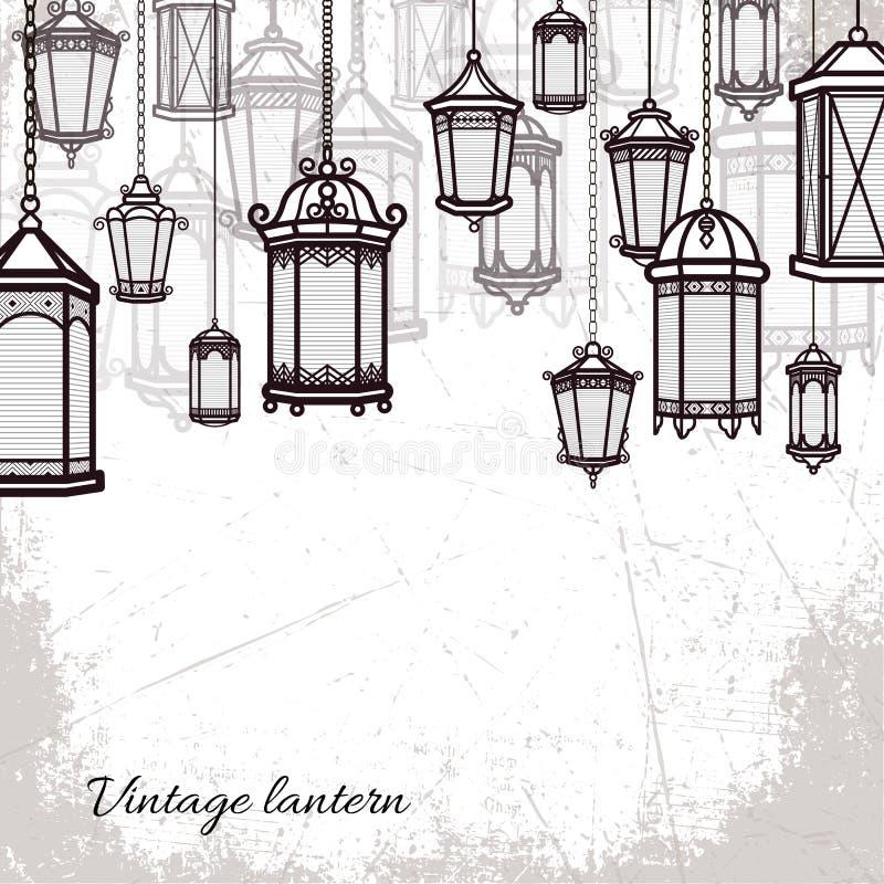 Backdroop claro antigo clássico do fundo ajustado da lanterna do vintage do vetor Projeto retro antigo da lâmpada Silhueta tradic ilustração do vetor