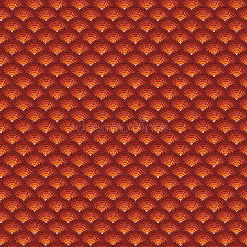 Backdrop 3d concentric pipes pattern in orange red stock illustration