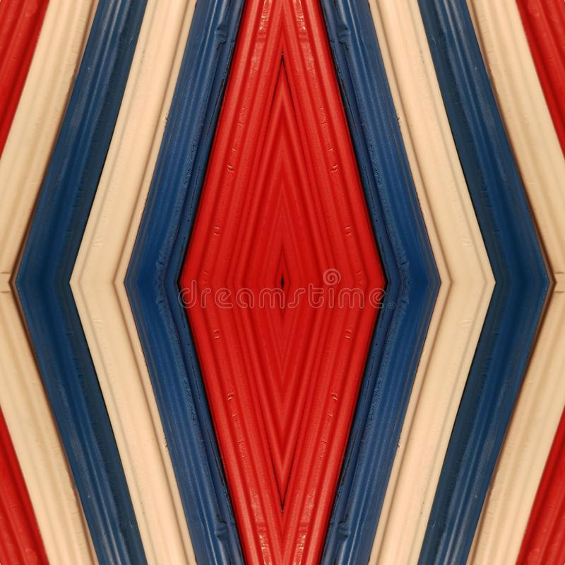Abstract design with pieces of plasticine bars in colors blue, white and red, background and texture. Backdrop for color-related announcements, school material royalty free stock images