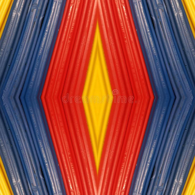 Abstract design with pieces of plasticine bars in colors yellow, blue and red, background and texture. Backdrop for color-related announcements, school material royalty free stock photos