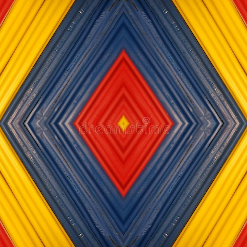 Abstract design with pieces of plasticine bars in colors yellow, blue and red, background and texture. Backdrop for color-related announcements, school material royalty free stock photo