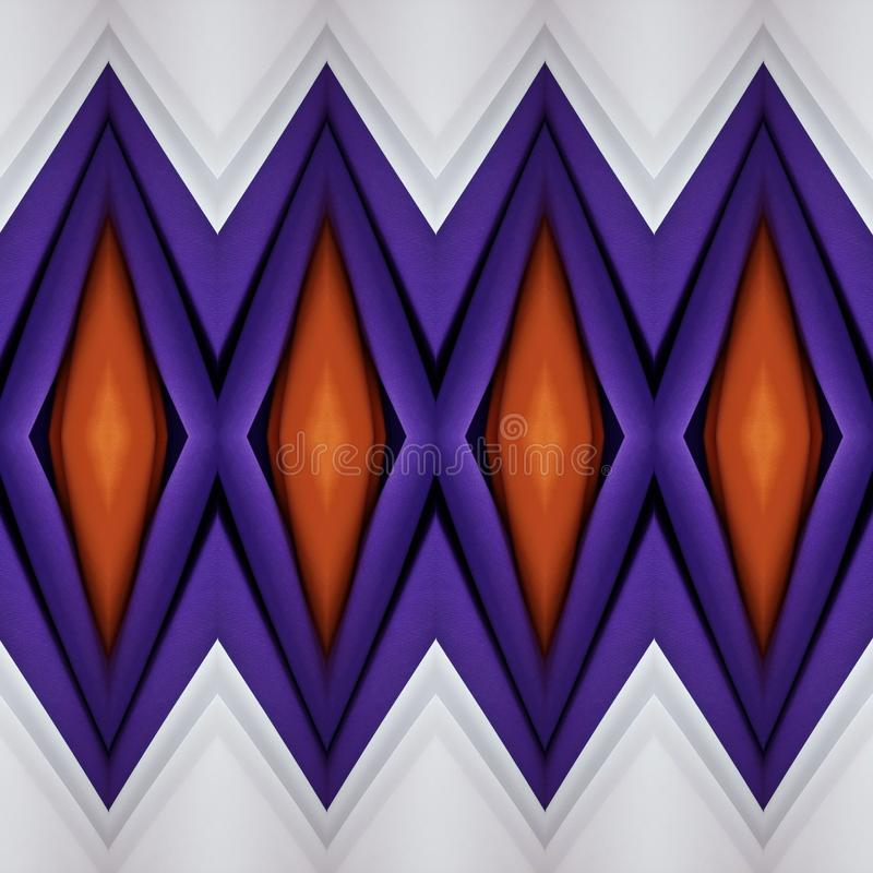 abstract design with cuts of fabric in orange, white and purple, background and texture vector illustration