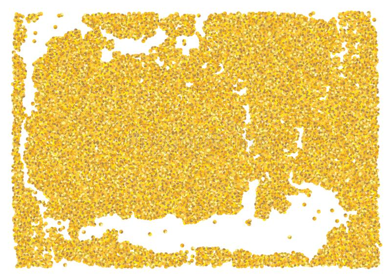 Backdrop crumble sheet golden texture. Gold dust scattering on a white background. Abstraction pieces sand particles grain or sand royalty free stock photo