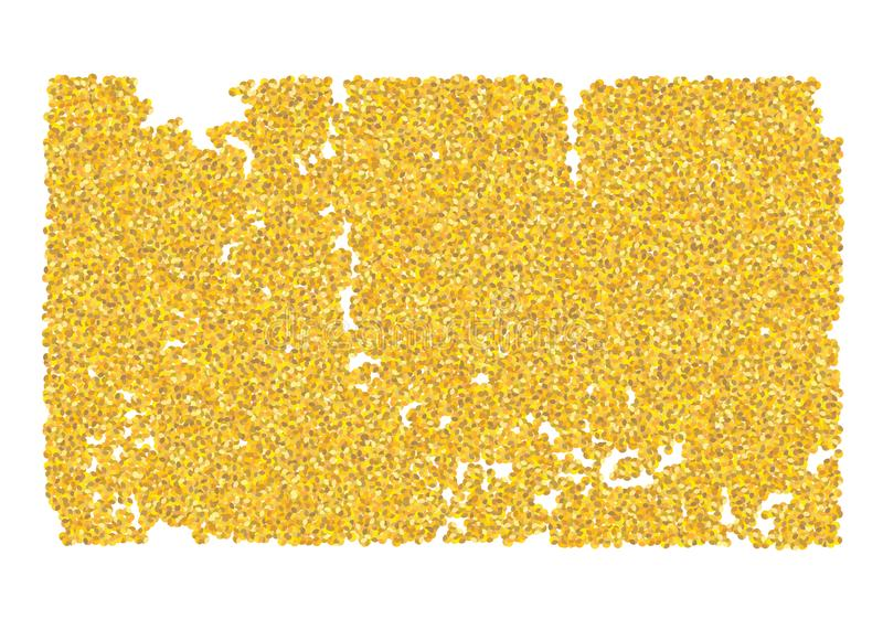 Backdrop crumble sheet golden texture. Gold dust scattering on a white background. Abstraction pieces sand particles grain or sand royalty free stock photos