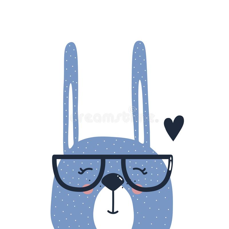 Backdrop with happy rabbit in glasses, heart. Hand drawn illustration with happy rabbit in glasses, heart. Colorful background vector. Poster design. Decorative royalty free illustration