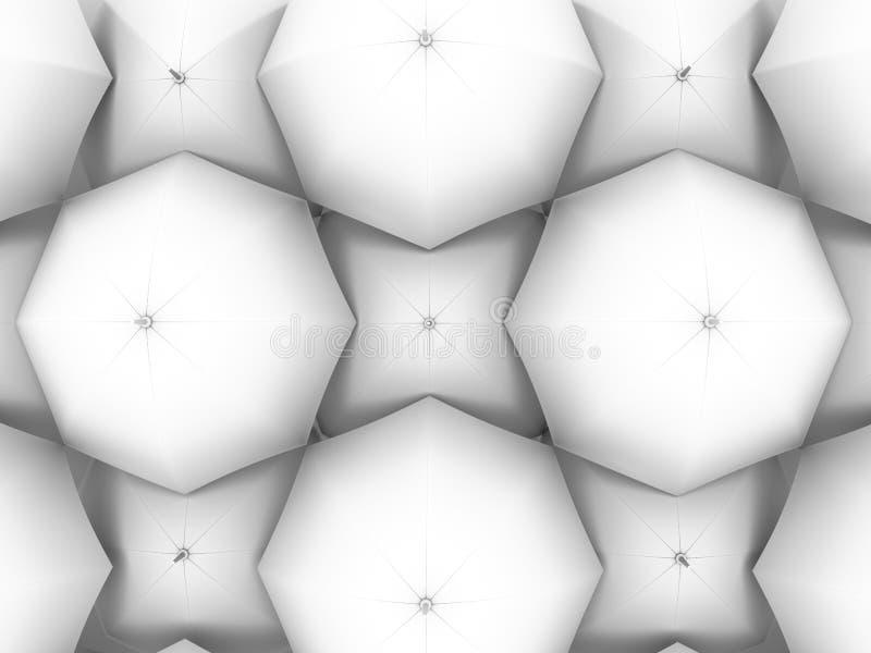 Backdrop of white umbrellas. Art background royalty free illustration