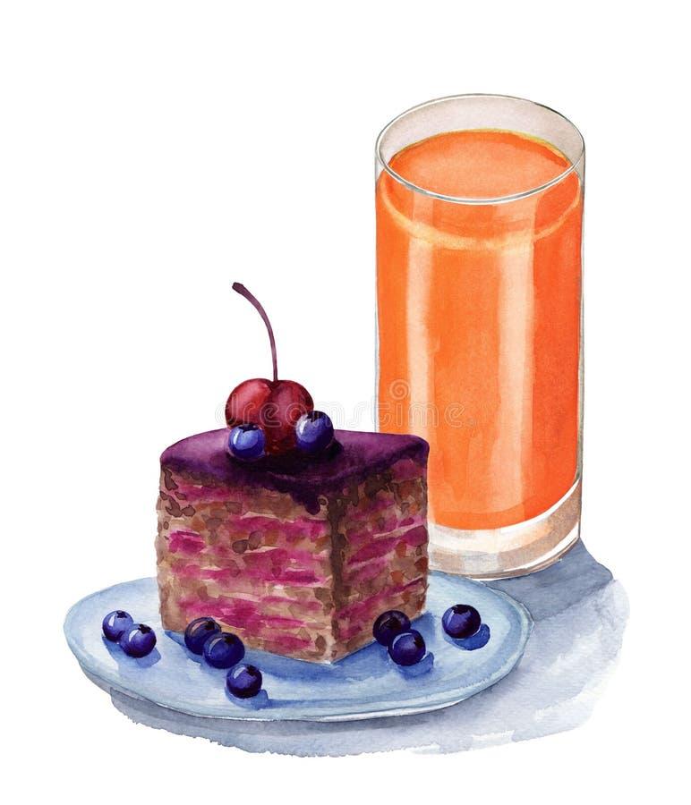 Backen Sie mit Beeren und Glas Saft, Aquarellillustration zusammen stock abbildung