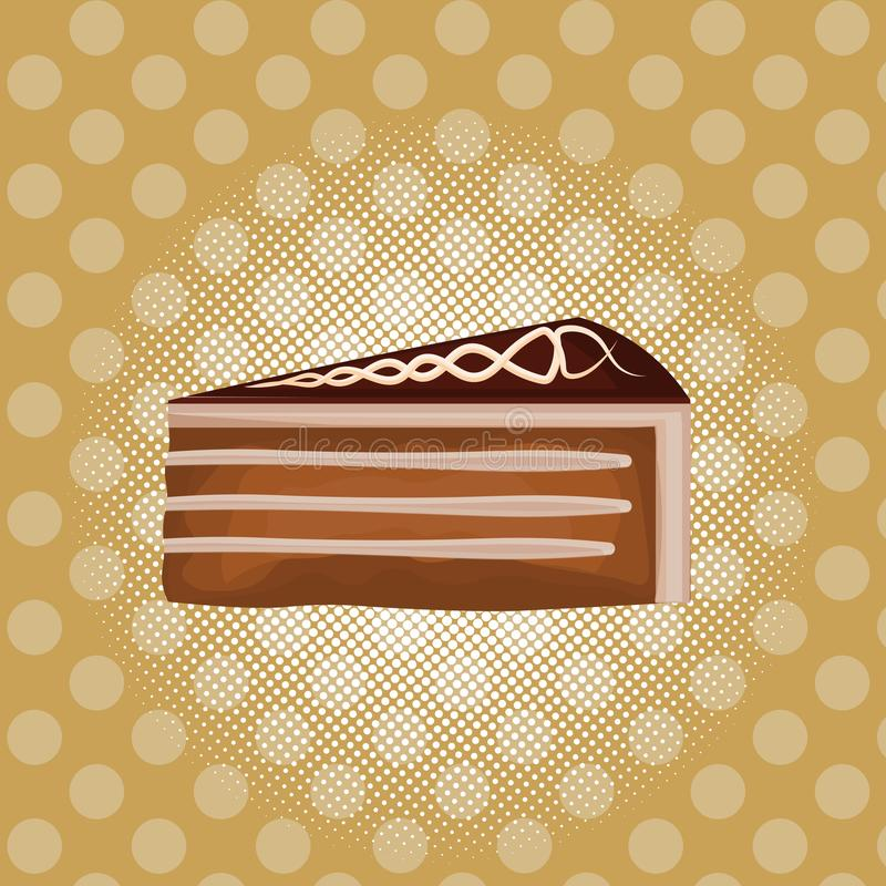 Backen Sie Schnellimbiss-Sahnekonzeptes des Nachtischs der Schokolade flaches Design des bunten zusammen stock abbildung
