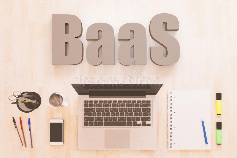 Backend as a Service. BaaS - Backend as a Service - text concept with notebook computer, smartphone, notebook and pens on wooden desktop. 3D render illustration royalty free illustration