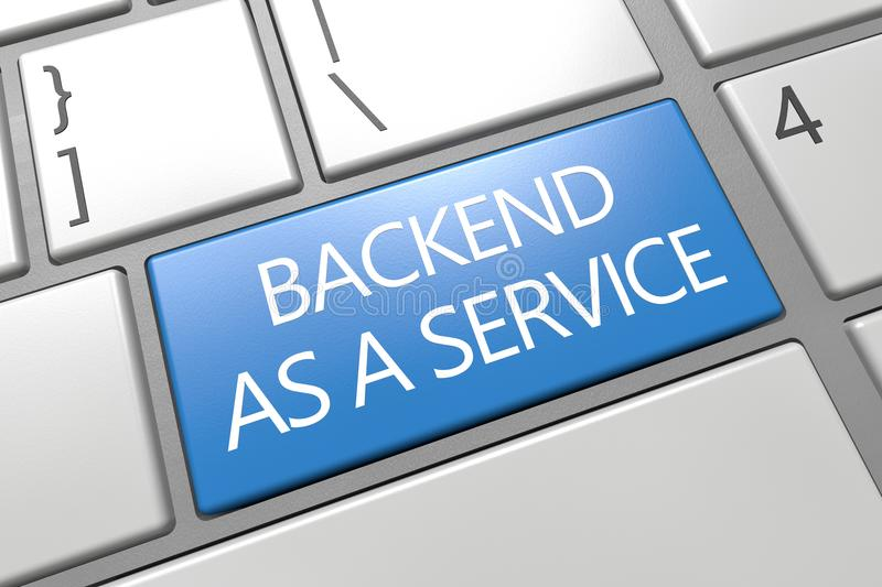 Backend as a Service. Keyboard 3d render illustration text concept with word on blue key royalty free illustration