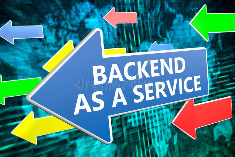 Backend as a Service. Text concept on blue arrow flying over green world map background. 3D render illustration stock illustration